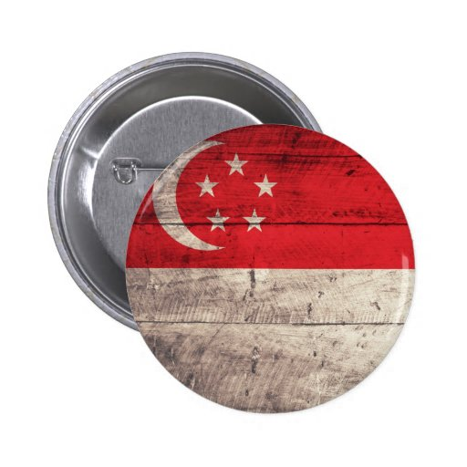 Old Wooden Singapore Flag Pin