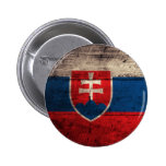 Old Wooden Slovakia Flag Pinback Buttons
