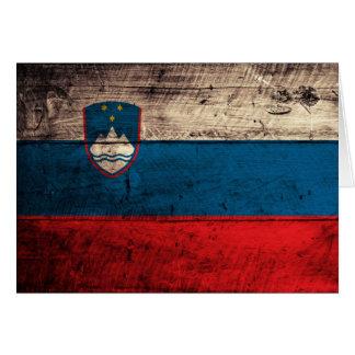 Old Wooden Slovenia Flag Card