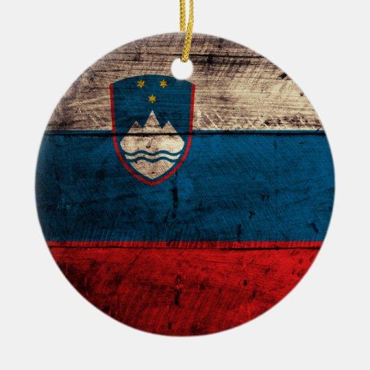 Old Wooden Slovenia Flag Ceramic Ornament
