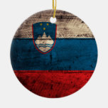 Old Wooden Slovenia Flag Christmas Tree Ornament