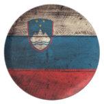 Old Wooden Slovenia Flag Dinner Plates