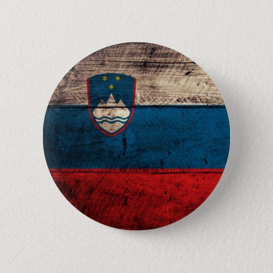 Old Wooden Slovenia Flag Pinback Button
