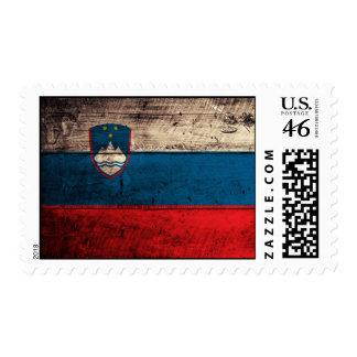 Old Wooden Slovenia Flag Postage Stamp