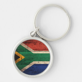 Old Wooden South Africa Flag Keychain