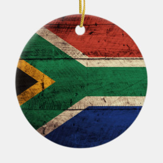 Old Wooden South Africa Flag Christmas Tree Ornament