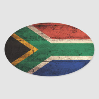 Old Wooden South Africa Flag Oval Stickers