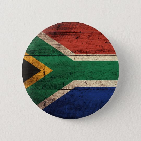 Old Wooden South Africa Flag Pinback Button