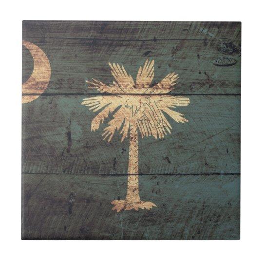 Old Wooden South Carolina Flag; Ceramic Tile