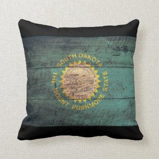 Old Wooden South Dakota Flag Throw Pillow