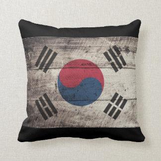 Old Wooden South Korea Flag Pillow