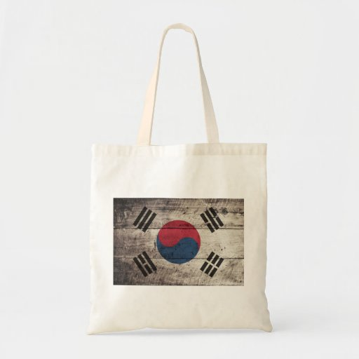 Old Wooden South Korean Flag Bags