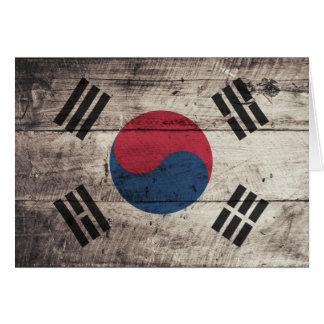 Old Wooden South Korean Flag Card
