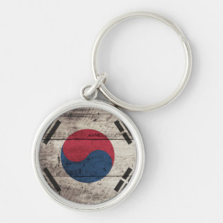 Old Wooden South Korean Flag Key Chain