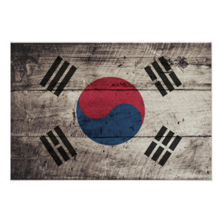 Old Wooden South Korean Flag Poster