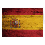 Old Wooden Spain Flag Greeting Cards