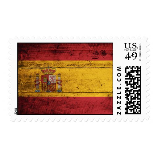 Old Wooden Spain Flag Postage Stamp