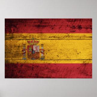 Old Wooden Spain Flag Poster