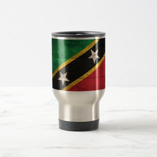 Old Wooden St. Kitts / Nevis Flag Coffee Mug