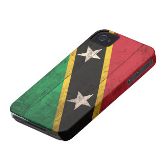 Old Wooden St. Kitts / Nevis Flag iPhone 4 Case