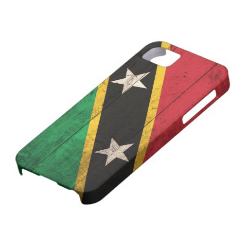 Old Wooden St. Kitts / Nevis Flag iPhone 5 Cases