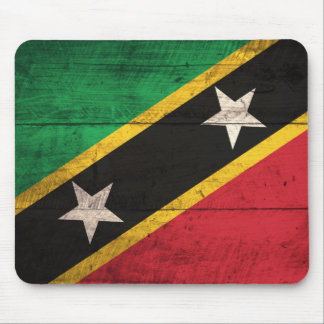 Old Wooden St. Kitts / Nevis Flag Mouse Pad