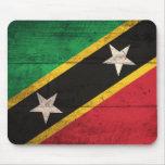 Old Wooden St. Kitts / Nevis Flag Mousepads