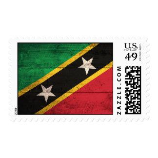 Old Wooden St. Kitts / Nevis Flag Postage