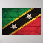 Old Wooden St. Kitts / Nevis Flag Poster