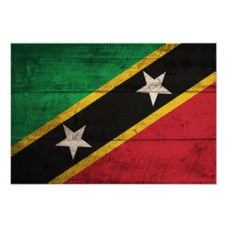 Old Wooden St. Kitts / Nevis Flag Posters