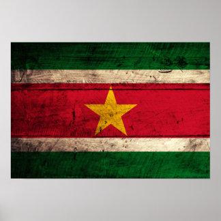 Old Wooden Suriname Flag Poster