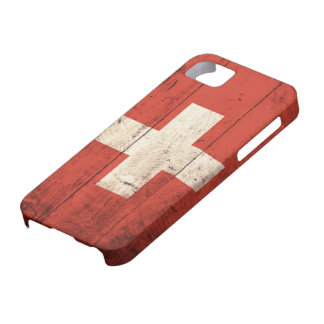 Old Wooden Swiss Flag iPhone 5 Cases