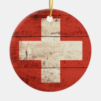 Old Wooden Swiss Flag Christmas Ornament