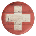 Old Wooden Swiss Flag Party Plate
