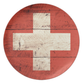 Old Wooden Swiss Flag Plate