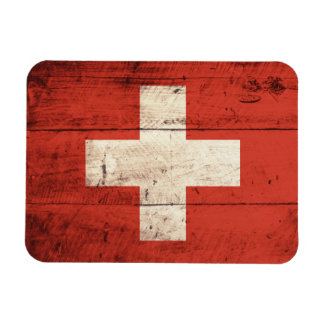 Old Wooden Swiss Flag Rectangle Magnet