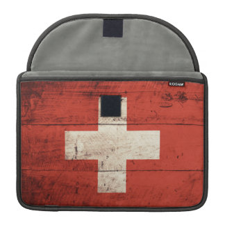 Old Wooden Swiss Flag Sleeve For MacBook Pro