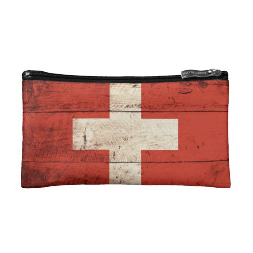 Old Wooden Switzerland Flag Cosmetic Bags