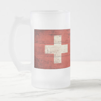 Old Wooden Switzerland Flag Frosted Glass Beer Mug
