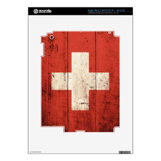 Old Wooden Switzerland Flag iPad 3 Decals