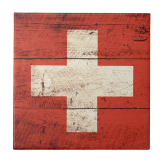 Old Wooden Switzerland Flag Tile