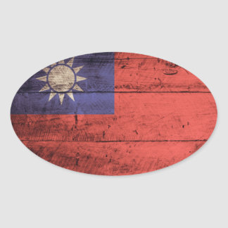 Old Wooden Taiwan Flag Oval Sticker