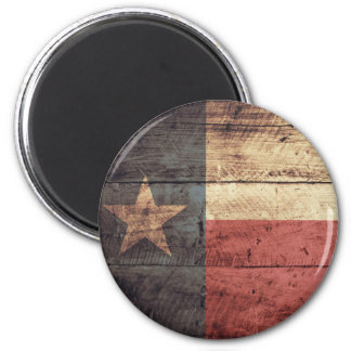 Old Wooden Texas Flag; 2 Inch Round Magnet