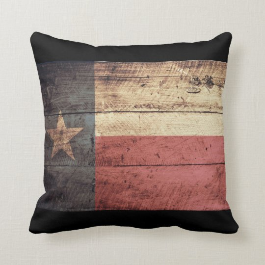 Old Wooden Texas Flag; Throw Pillow