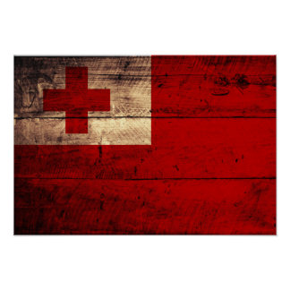Old Wooden Tonga Flag Poster