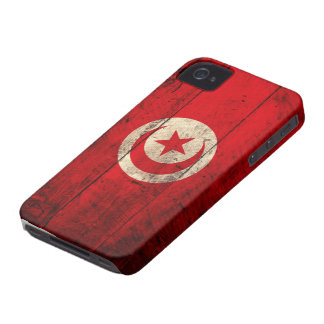 Old Wooden Tunisia Flag Case-Mate iPhone 4 Cases