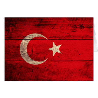 Old Wooden Turkey Flag Card