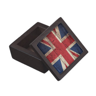 Old Wooden UK Flag; Keepsake Box