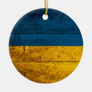 Old Wooden Ukraine Flag Christmas Ornaments