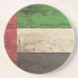Old Wooden United Arab Emirates Flag Coasters
